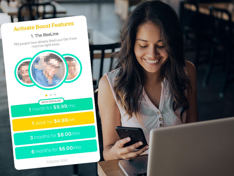 A woman on her phone using Bumble Boost to meet other singles on the Bumble dating app.