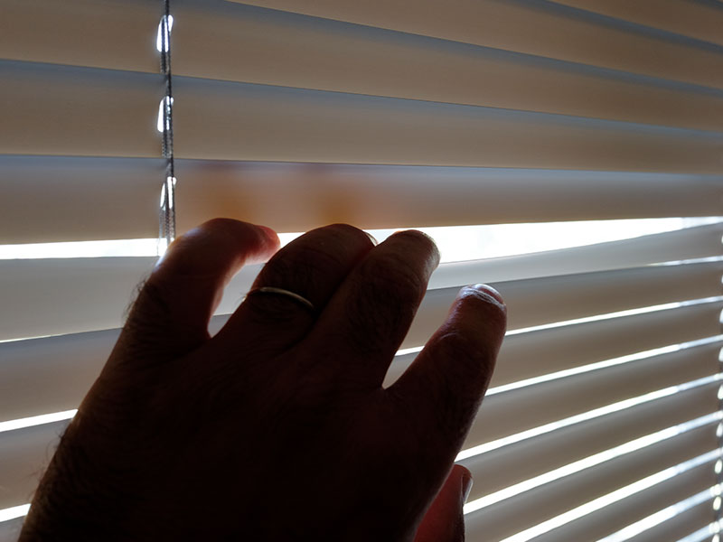 Someone who learned how to catch a cheater, peaking through the blinds to spy on someone.