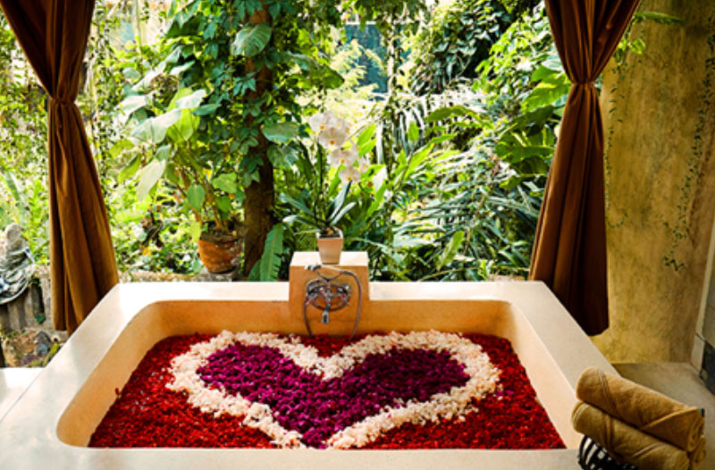 A spa winter date, complete with a bathtub filled with petals.