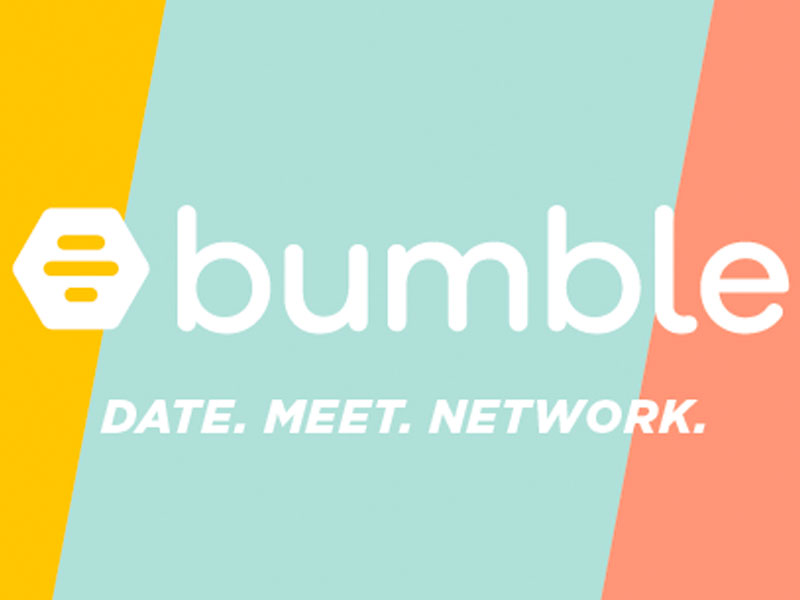 The Bumble dating logo showing the three colors for Bumble Bizz, Bumble BFF, and Dating. Date. Meet. Network.