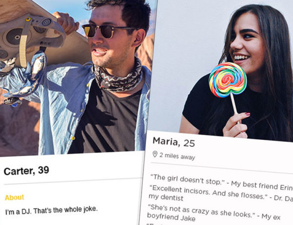Two examples of funny dating profiles from different apps.