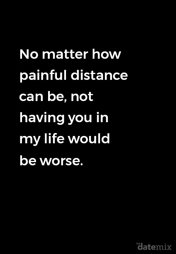 A black background with the long distance love quote below written across it.