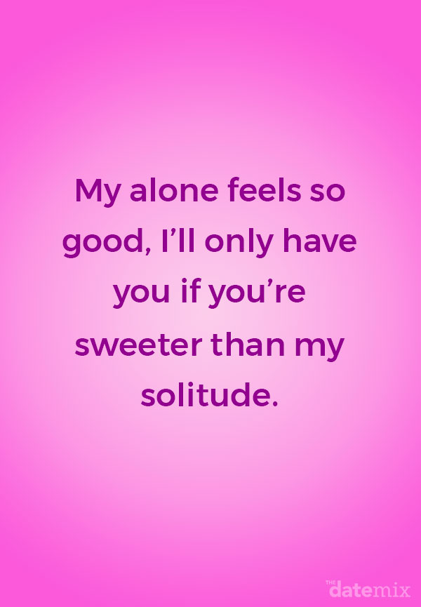 The single life quote below written out on a fushia background.