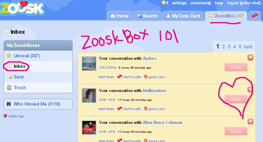what does wink wink mean on zoosk